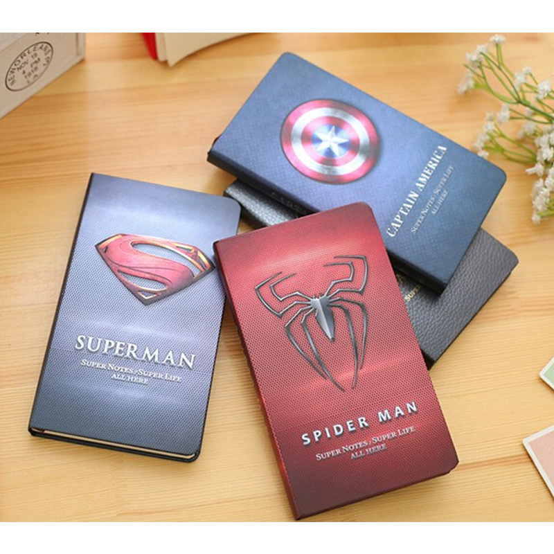Kawaii Cartoon Sketchbook A6 Superman Notebook Cute Batman Hard Copybook Diary Book Student Kids Exercise Notepad Memo Pads paris sketchbook jason brooks