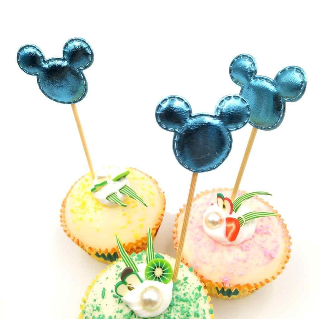 5 unids/lote azul Mickey Mouse Cupcake Toppers fiesta de cumpleaños decoraciones para baby shower niños suministros pastel Toppers Set