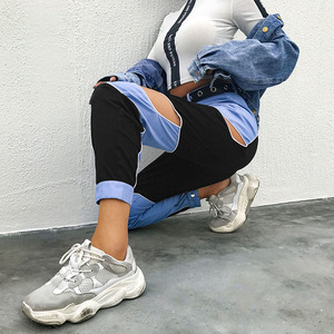Image 3 - HEYounGIRL 하라주쿠 힙합 카고 바지 여성 중공업 하이 웨스트 바지 Streetwear Patchwork Sweatpants and Joggers Ladies