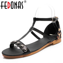 FEDONAS 2019 Summer New Rome Thin Strap Round Toe Buckle Low Heels Women Sandals Leopard Pu Leather Party Casual Shoes Woman(China)
