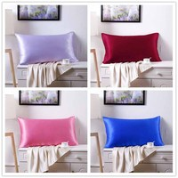 Lannidaa 1pc 100% Double Mulberry Silk Pillowcase High Quality Pillow Case Pillow Cover Solid Silk Sleeping Pillowcases 51x76cm