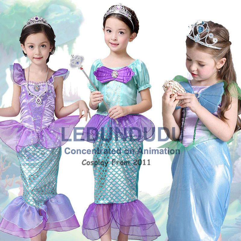Children's Girls Little Mermaid Princess Dresses Kids Summer Cosplay costumes Fancy Dress