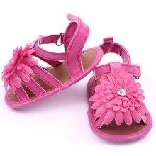 Кроватке скольжения сандалии летний прогулки искусственная малыш девушка цветок кожа стиль