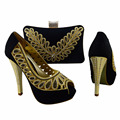 Style Ladies Italy Shoe And Bag Set 1308-L71 African Shoe With Bags with black,Italian Shoe With Matching Bag For Party