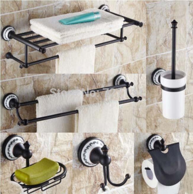 Free Shipping Oil Rubbed Bronze 6pcs Bathroom Accessories Bath Shelf Storage Holder Wall Mount