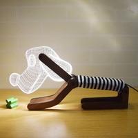 USB adjustable Posture Dogs 3D Visual Three dimensional LED Bedside Bedroom Night light Creative Table lamp Decorative Lights