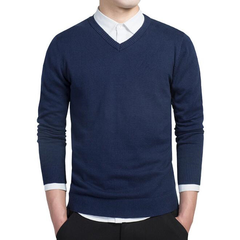 LEFT ROM Stylish Men Fall Slim Fit V-neck Sweater/Male Premium Brand Leisure Set Head Knit Shirt/Large Size Knitted Sweater XXXL