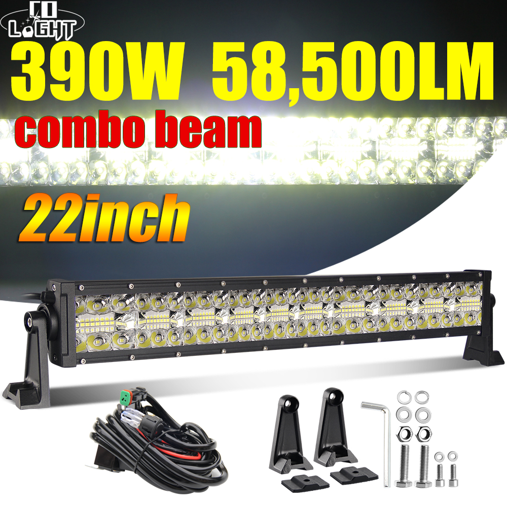 "CO LIGHT 22"" 32"" 42"" Offroad 4x4 Led Bar 3 Rows Spot Flood Led Light Bar 12V 24V 390W 585W 780W Work Lights for Tractor Jeep ATV-in Light Bar/Work Light from Automobiles & Motorcycles"