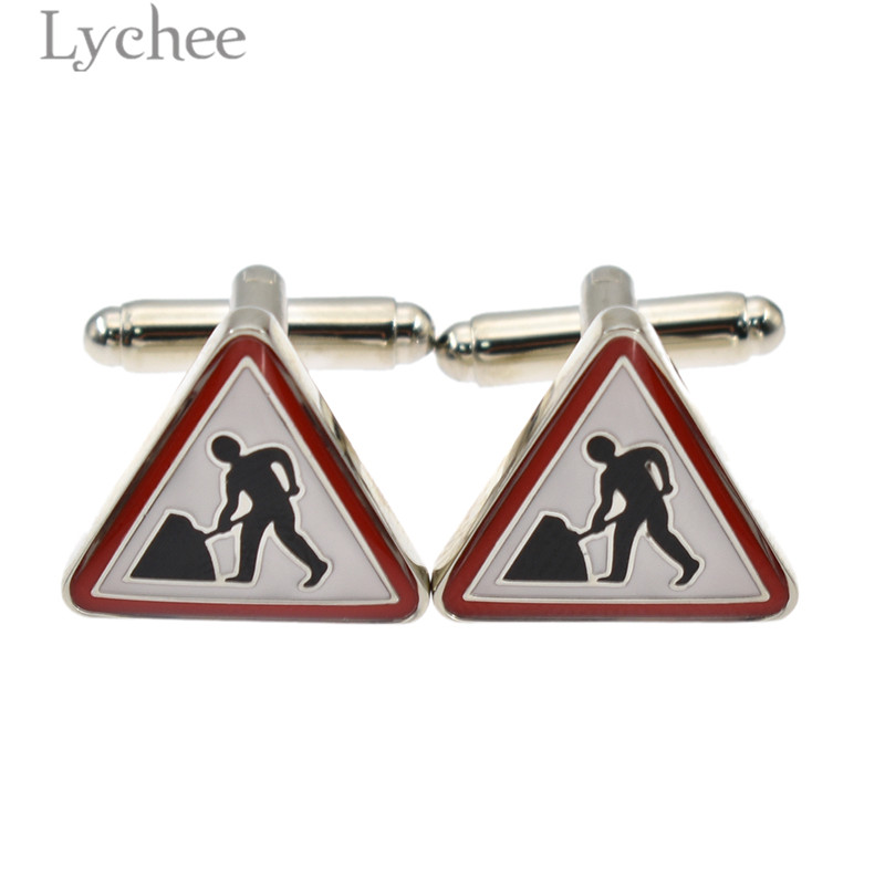 Lychee 1 pair Trendy Copper Crystal Cufflinks Globe Skull Road Construction Sign Shirts Sleeve Button for Men Women