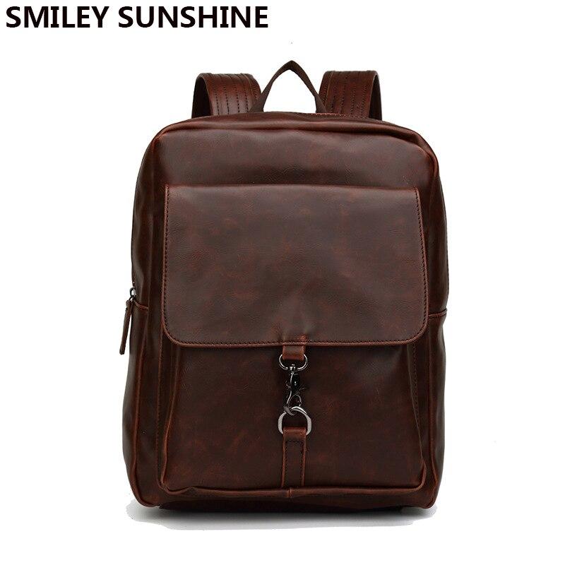 High Quality pu Leather Men Backpacks Male School Bag Brown Black Backpack for Men Teenage BoysTravel Bag sac a dos homme 2018