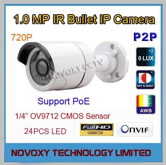 ФОТО Free Shipping 1MP 720P PoE HD IP Cam  IP Camera Outdoor Weatherproof Infrared Night Vision IR Bullet Box Camera