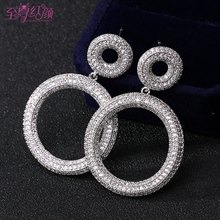 The new European fashion personality exaggeration ring Circle Earrings ear fashion trendsetter