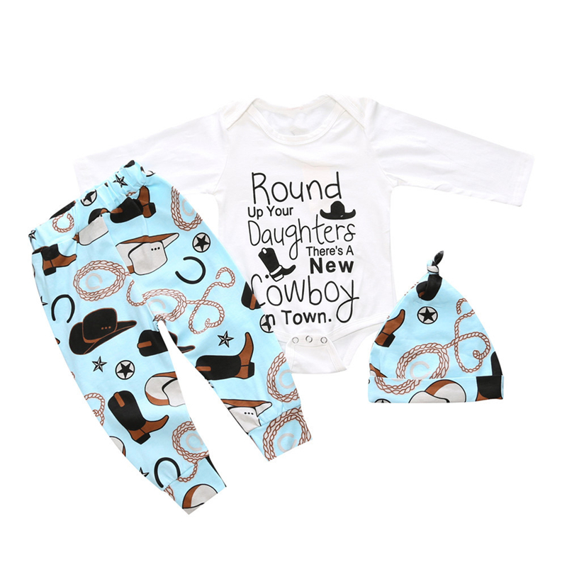 Cute Newborn Baby Boys Girls Set Cowboy Bodysuit Pants Hat 3pcs Outfits Toddler Clothes New Infant Autumn Clothing Sets  newborn baby halloween vampire cosplay jumsuit toddler boys girls funny cute clothes set kids photography props birthday gift