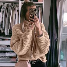 NLW хаки водолазка женский свитер осень зима длинный рукав джемпер вязаный СВОБОДНЫЙ Модный пуловер Femme