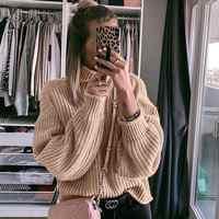 NLW kaki col roulé femmes chandail automne hiver à manches longues Oversize pull 2019 tricoté lâche mode pull Femme