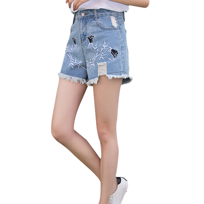 Women Jeans Short Pant Embroidered Denim Shorts 2017 Spring Summer Fashion Blue Vintage Female Pantalon Femme Pants Plus Size