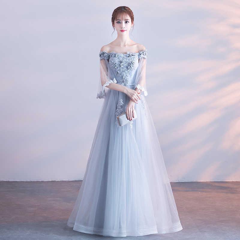a2948371e9d Великолепная Shoulderless Длинные вечерние платья Тюль Кружева Showl  рукавами Вечерние платья с аппликацией на шнуровке Для