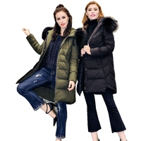 Winter Women's Parkas Down Coats 90% Duck Down Raccoon Fur Hooded Fashion Lady Warm Outerwear Overcoat LF4272