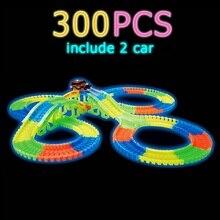Brilhante pista de corrida curva flex flash no escuro conjunto flexível carro brinquedo/165/220/240 pçs brilho pista corrida conjunto diy puzzle brinquedos
