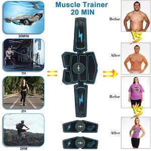 Image 3 - 8 sztuk bezprzewodowy stymulator mięśni trener inteligentny trening brzucha szkolenia elektryczne odchudzanie naklejki wyszczuplanie ciała pas Unisex
