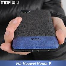 화웨이 명예 9 케이스 커버 Honor9 커버 실리콘 가장자리 Shockproof 남자 비즈니스 패브릭 Coque MOFi 원래 명예 9 케이스