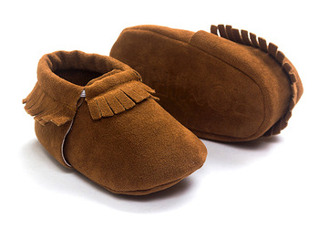 2019 PU Suede Leather Newborn Baby Moccasins Shoes Soft Soled Non-slip Crib First Walker 2