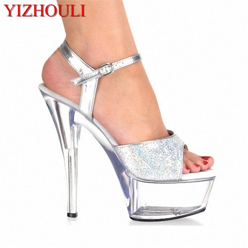 d4731f563 أحذية نسائية منصة حذاء من الكريستال الزفاف أحذية لامعة الفضة شىء صغير براق  15 سنتيمتر صندل كعب عالٍ جدا