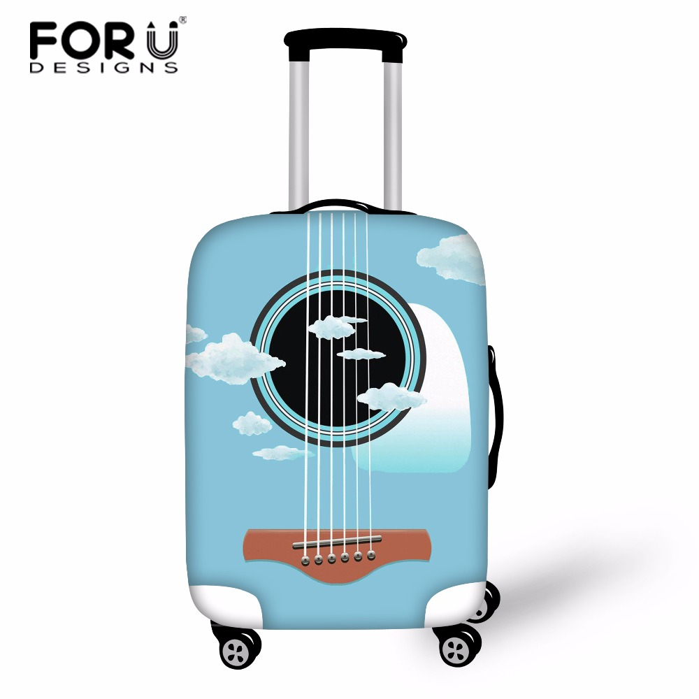 FORUDESIGNS Music Note Travel Luggage Suitcase Protective Cover Stretch Dustproof Protective Cover Guitar Print Suitcase Cover