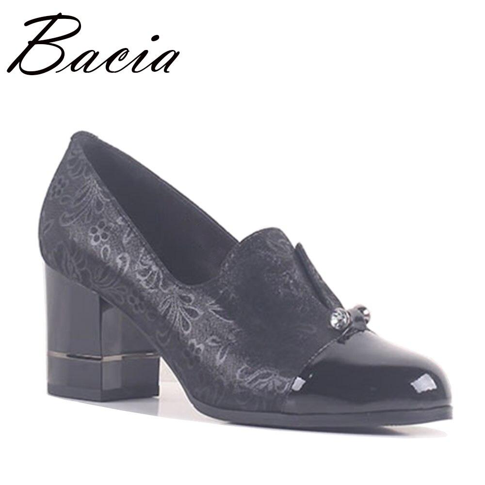 Bacia Foil Sheepskin Shoes Woman High Heels Pumps Women Shoes Pumps Phoenix flower Print Cristal Shoes Size 35-41 SB057 свитшот print bar phoenix