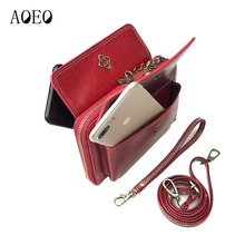 AOEO Phone Wallet Female Long With Double Pocket Wristband Single Shoulder Strap Multifunctional Ladies Purse Slim Women Wallets