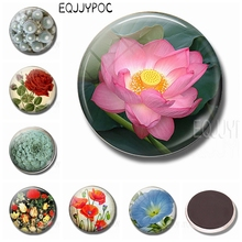 Rose Tulip Succulents Poppy Morning Glory Cactus Flower 30MM Fridge Magnets Glass Magnetic Stickers for Refrigerator