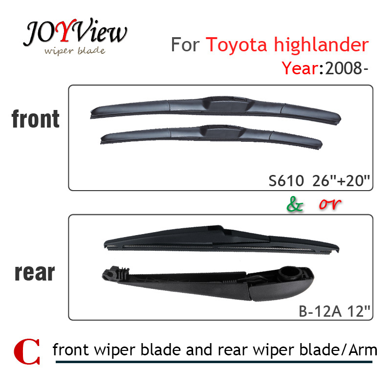 S610 26+20 CAR WIPER BLADE FIT FOR TOYOTA HIGHLANDER, 2PCS A LOT, HIGH QUALITY FRONT WIPER BLADE