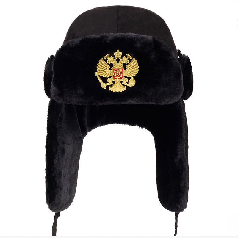 2018 new Men Russian national emblem Lei Feng Winter Hat Aviator Outdoor Ear Flaps Bomber Cap Proof Trapper Russian Hats