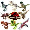 8 pçs/set mundo jurássico parque de dinossauros figuras diy educacional construção variação tiranossauro montar blocos crianças brinquedo clássico