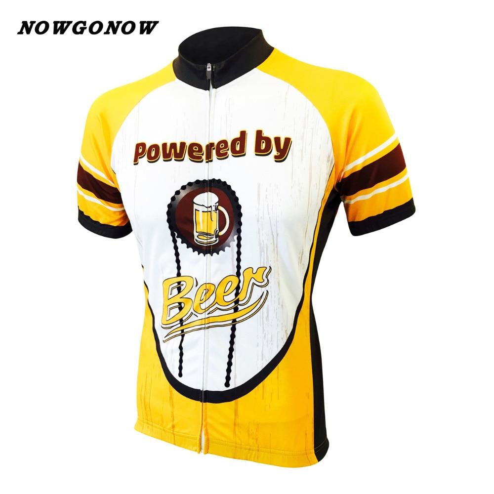 Prix pour Personnalisé hommes 2017 cyclisme maillot jaune bière pro équipe clothing bike wear nowgonow racing route triathlon montagne à manches courtes