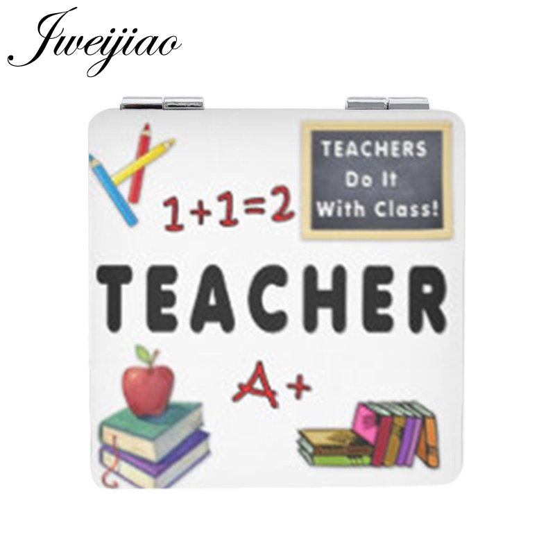 JWEIJIAO A Good Teacher Takes A Hand Opens A Mind  Touches A Heart  Double Sides Square Leather Gift  Pocket Mirror FQ428