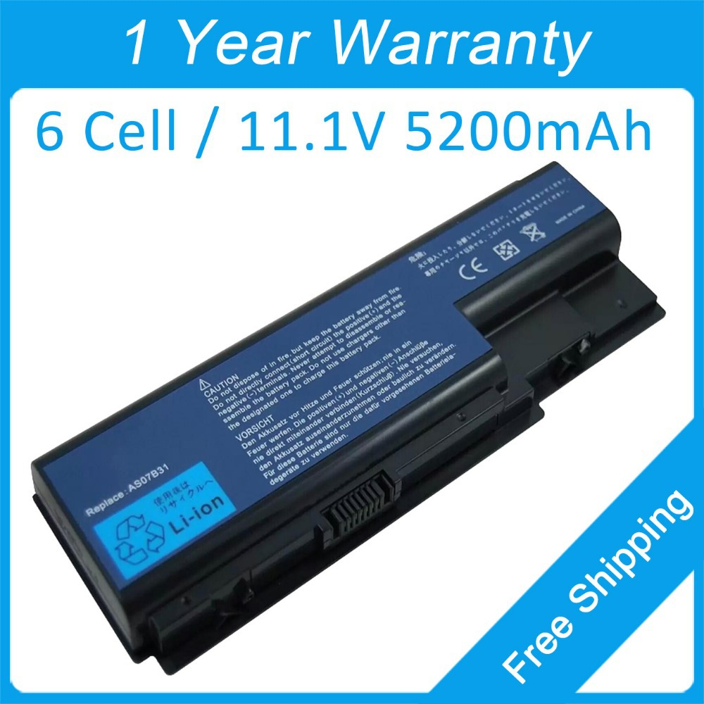 New 6 cell laptop battery for acer Aspire 5530 5535 5710 5715 5720 5730 5735 AS07B32 BT.00603.033 BT.00607.010  free shipping|battery for acer aspire|battery for acer|laptop battery - title=
