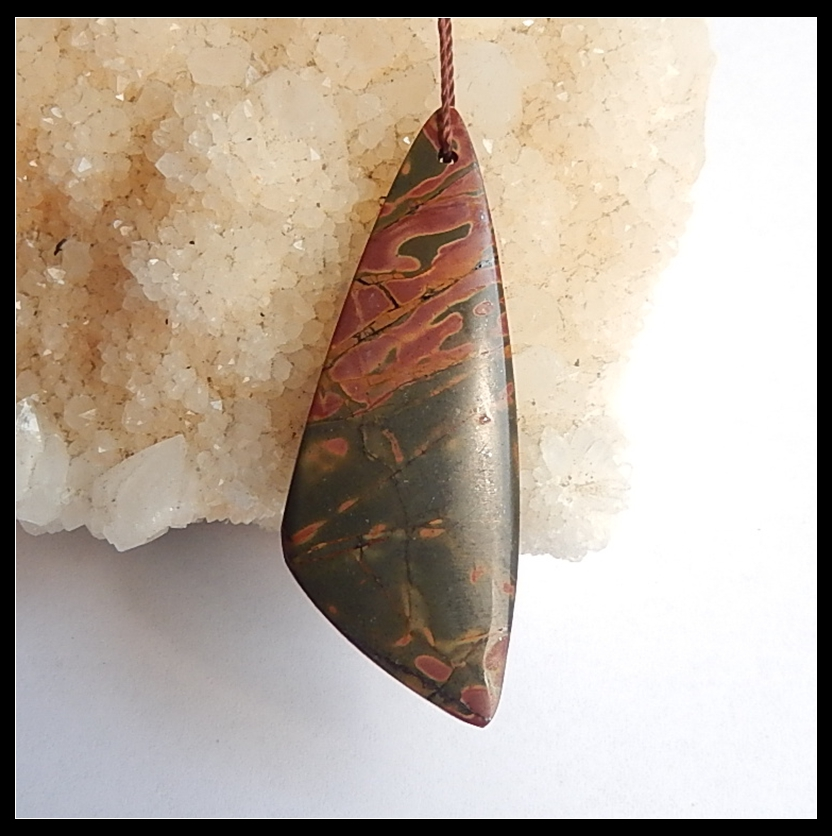 Wholesale 1Pcs Natural Stone Multi-Color Picasso Jasper Necklace Pendant Bead 47x18x4mm 4.9g Trendy Jewelry Pendant Accessories