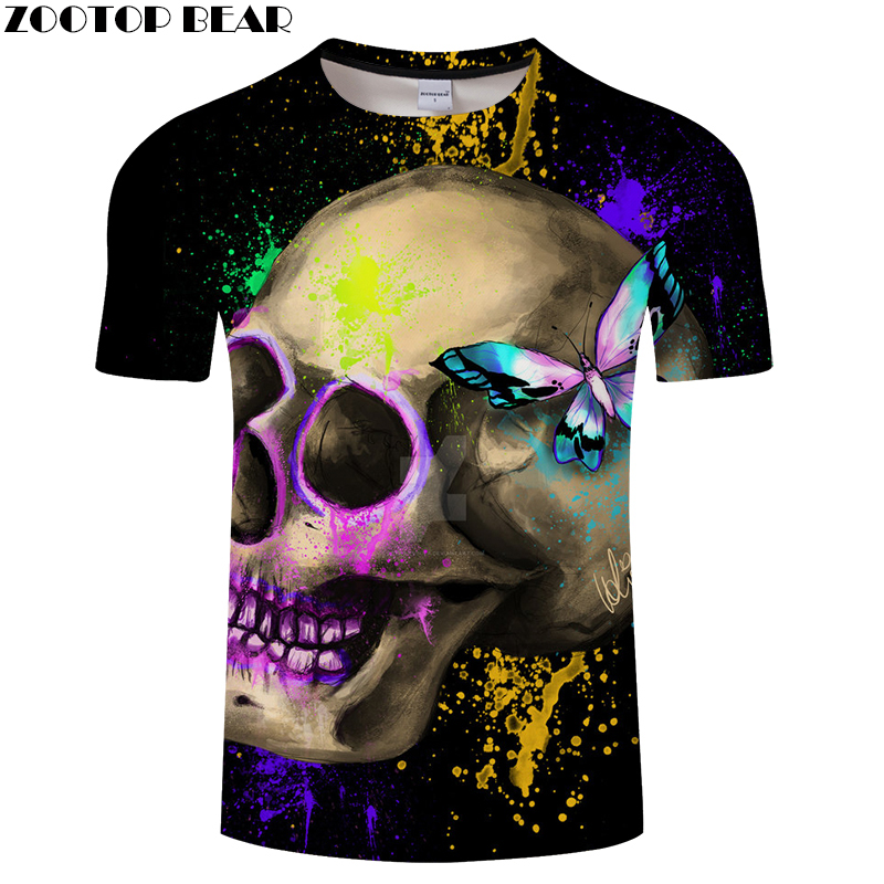 Butterfly 3D tshirt Skull tshirt Funny t shirt Men t-shirt Streatwear Tee Summer Top Short Sleeve Camiseta Drop Ship ZOOTOPBEAR
