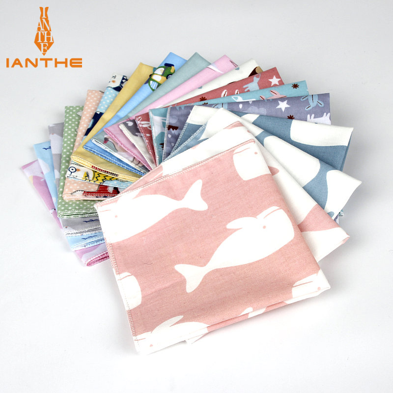 Brand New Men's Cotton Handkerchief Animal Print Pocket Square Wedding 25cm*25cm Hankies For Men Bear Whale Cats Pocket Towel
