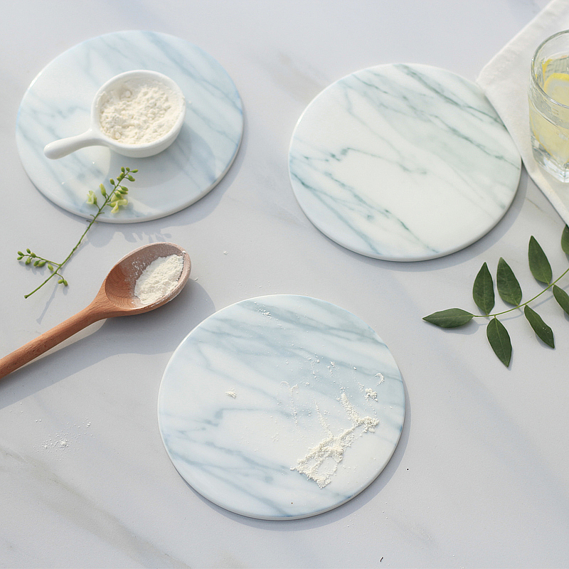 2pcspack Marble grain coaster cup mats pads ceramic pads home kitchen tools desktop non-slip luxury decor cup pad Diameter 15cm