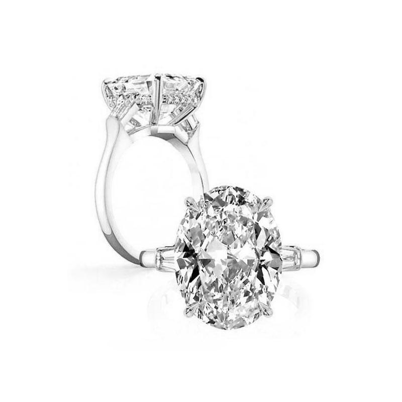 LESF 925 argent Sterling 8.3 ct ovale taille unique pierre étincelante SONA diamant pour les femmes bagues de mariage bijoux de fiançailles - 6