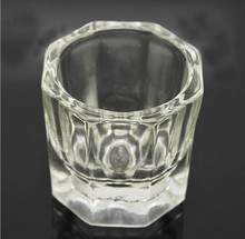 1pcs/lot Acrylic Nail Art Tips Glass Crystal Bowl Cup Dish Liquid Powder Container Nails Tools