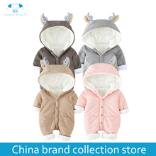 Mother Kids - Baby Clothing - [PlayFul100]romper Newborn Baby Clothes Baby Winter Rompers Infant Newborn Baby Girls Boys Clothes Long Sleeves Hooded MD160D053