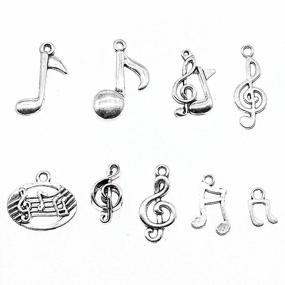 20pcs Encantos Nota Musical Antigo Cor Prata Nota Musical Encantos Descobertas Jóias Encantos da Nota Musical