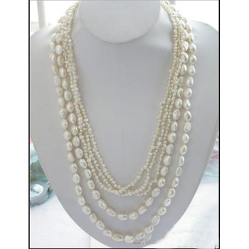 Fashion Women Pearl Jewellery Gift,5Rows 27inches 4-11mm White Baroque Freshwater Pearl Necklace,Perfect Birthday Party Jewelry