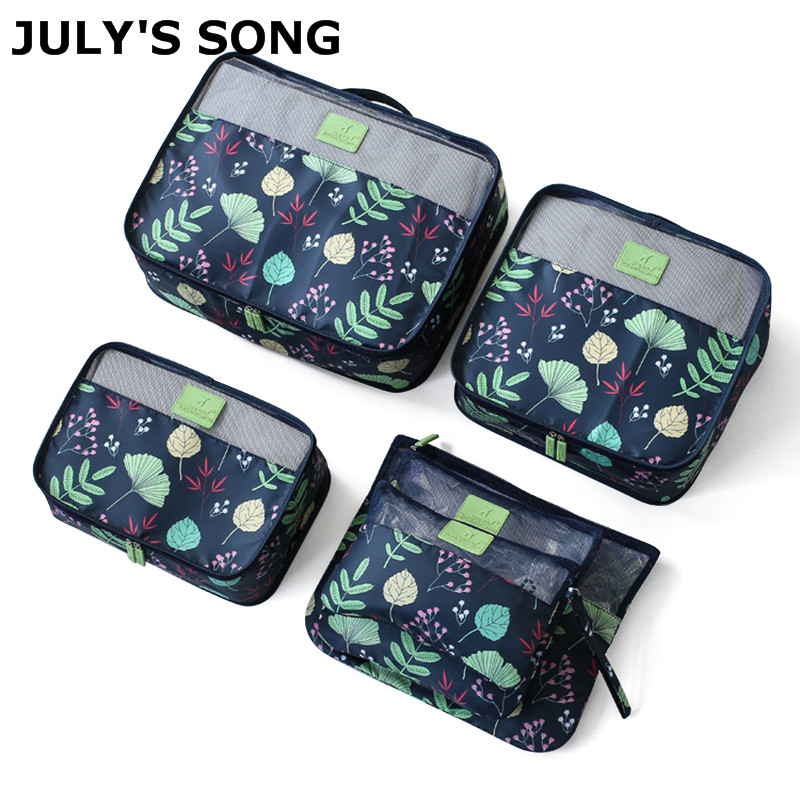 JULY'S SONG 6pcs/set Waterproof Mesh Travel Bag Zipper Packing Cubes Bags Large Capacity Clothing Pouches Bag Luggage Organizer