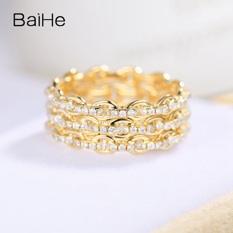 BAIHE Solid 14K Yellow Gold 0.95ct Certified H/SI Round Full Cut 100% Genuine Natural Diamonds Women Trendy Fine Jewelry RingBAIHE Solid 14K Yellow Gold 0.95ct Certified H/SI Round Full Cut 100% Genuine Natural Diamonds Women Trendy Fine Jewelry Ring