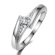 free shipping silver plated finger rings for women Wedding engagement Rings CZ diamond  jewelry bague bijoux Accessories MY005