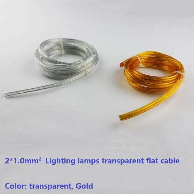 Transparent 210mm cleargold flat cable lighting lamps transparent 210mm cleargold flat cable lighting lamps electrical wire pendant chandelier mozeypictures Images